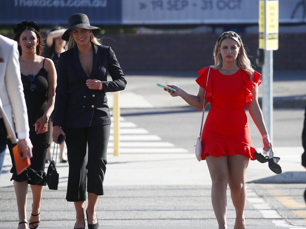 Racegoers leave Royal Randwick after the Melbourne Cup race meet.