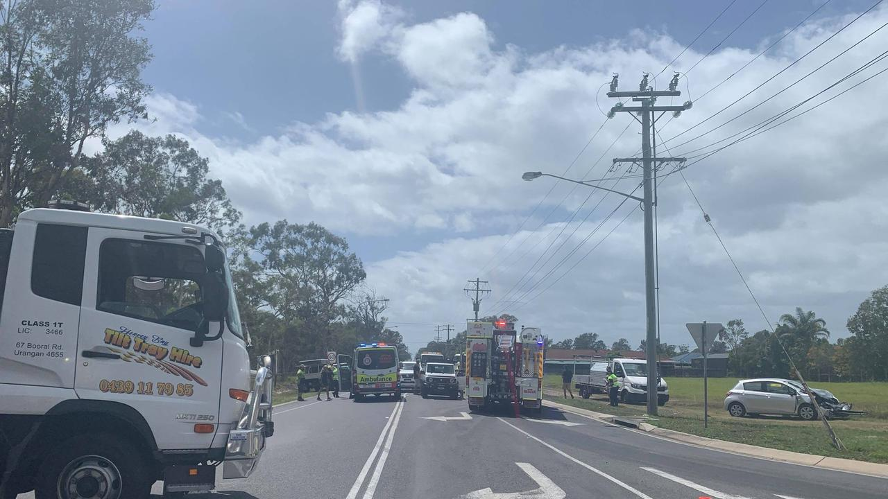 Two people have been hospitalised after a three car crash.