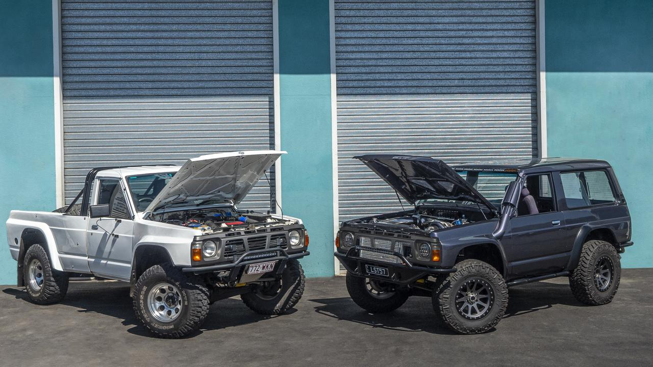 Two of the highly modified four-wheel drives that will race in this weekend's King of the Strip at Benaraby Dragway.