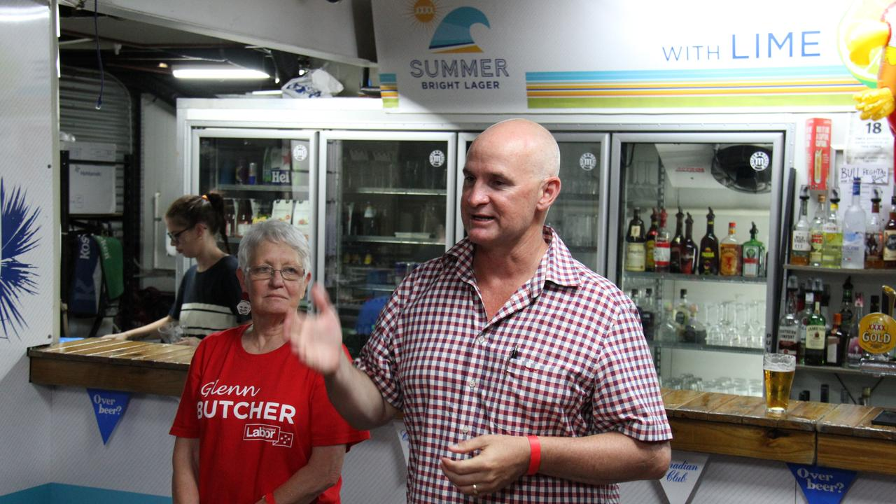Re-elected Member for Gladstone Glenn Butcher delivers his victory speech to family, friends and volunteers at the Gladstone Yacht Club on October 31, 2020. Picture: Rodney Stevens