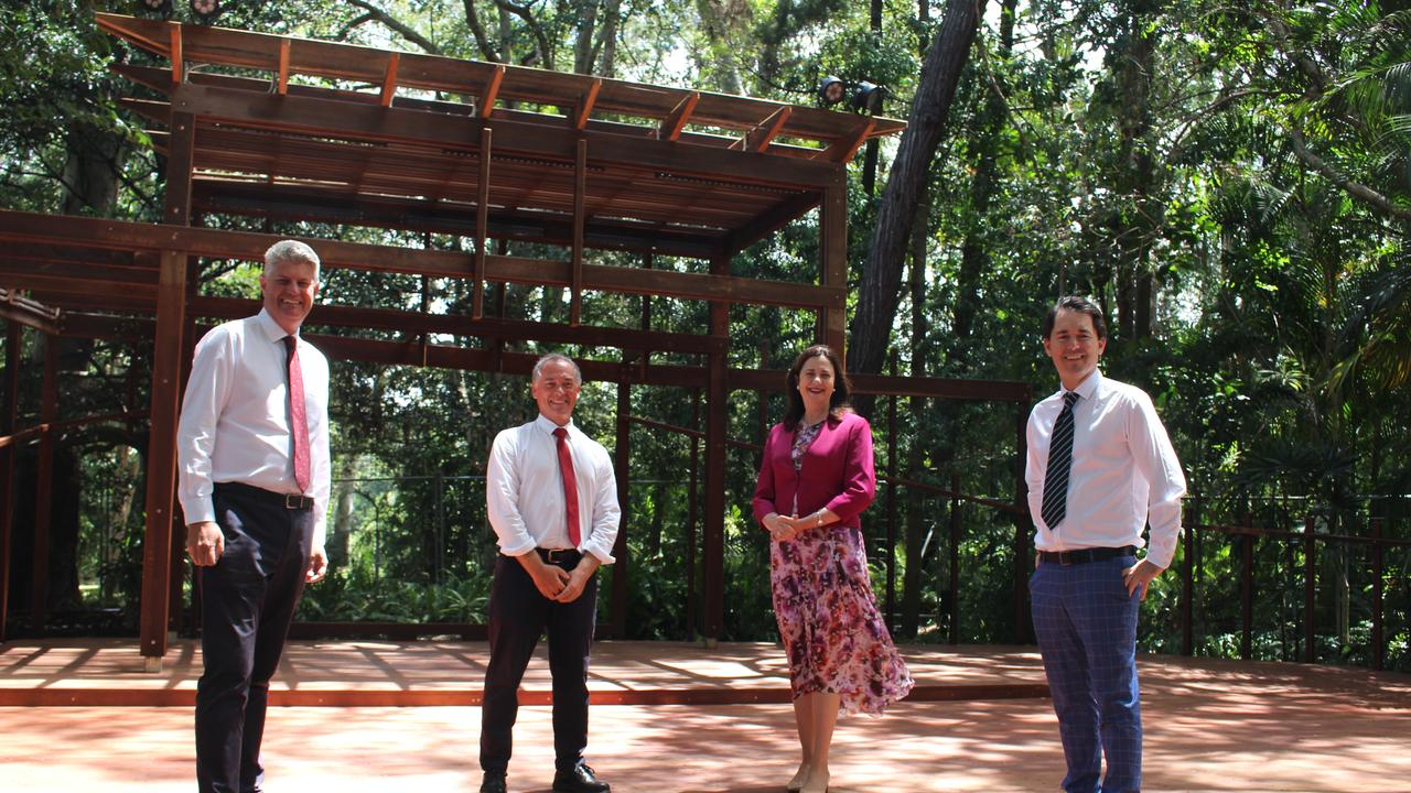 Local Government Minister Stirling Hinchliffe, Adrian Tantari, Premier Annastacia Palaszczuk and Fraser Coast Mayor George Seymour viewing the new bush Chapel at the Hervey Bay Botanic Gardens.