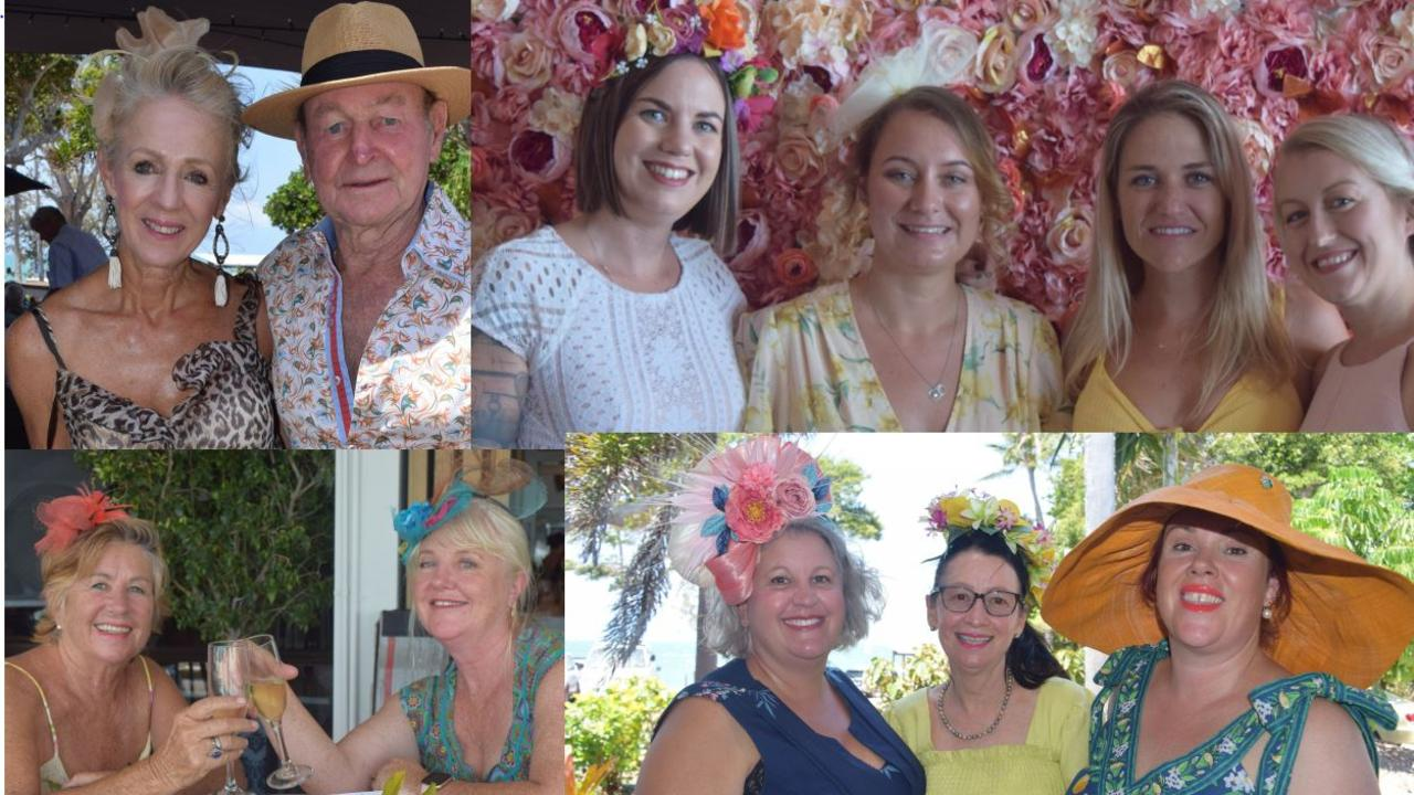 (Clockwise from top left) Alison and Ross Murrell; Kate Paton, Cass Roberts, Stephanie Ryan and Toni-Ann Parry; Victoria Austin, Margie Chidley and Rebecca Riddell-Gwydir; Linda Priday and Zoe Canfield enjoy Melbourne Cup celebrations in the Whitsundays.