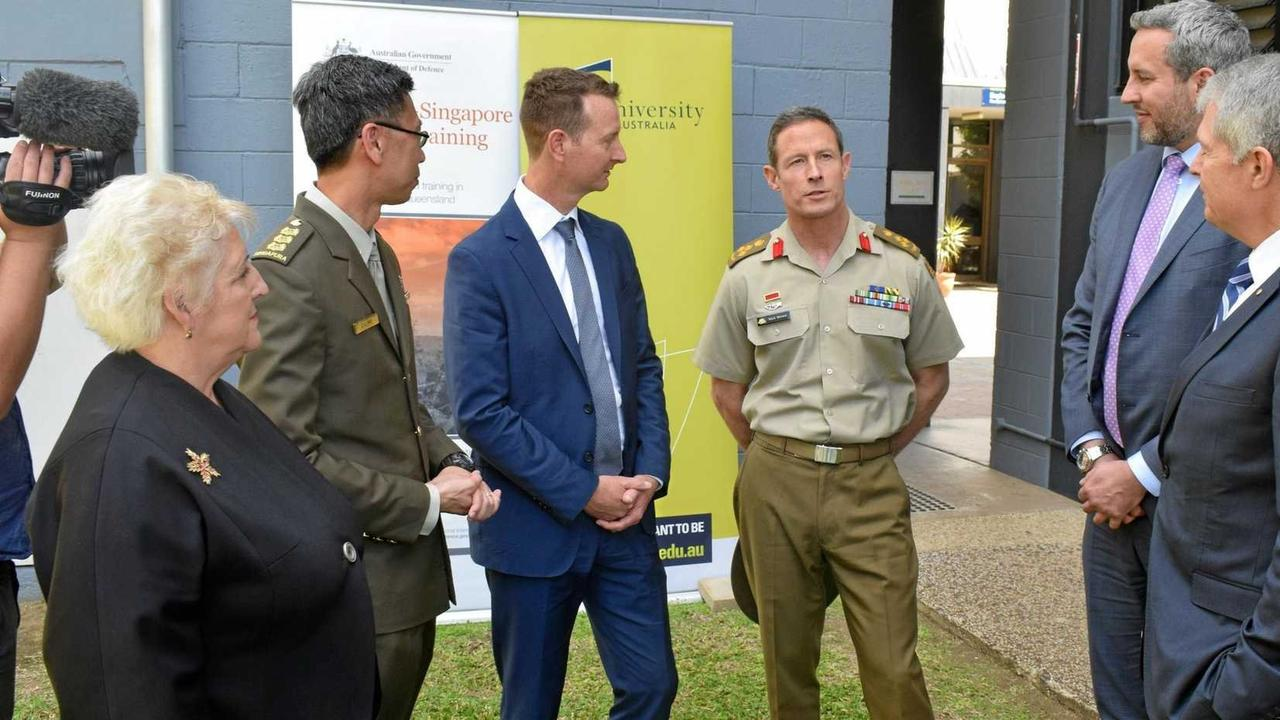 Capricornia MP Michelle Landry (left), Singapore Army's C.L. Ho, Brigadier Mark Brewer (centre), Managing Director Cathal O'Rourke and Assistant Defence Minister Senator David Fawcett announced Laing O'Rourke as the managing contractor for the Shoalwater Bay training facility upgrade last year.