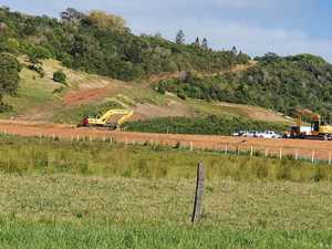 Why is machinery back at North Lismore Plateau site?