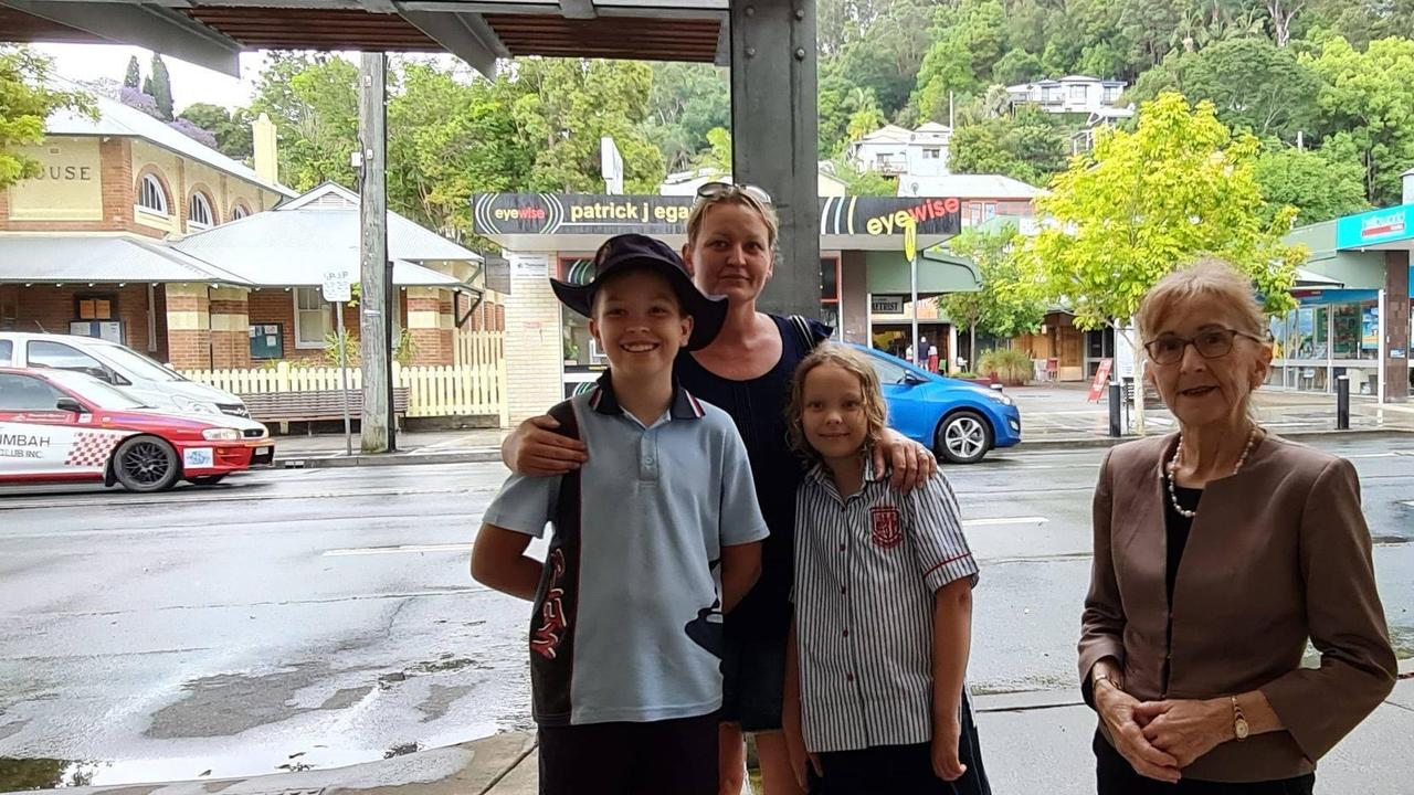 Isaac Rose, Ella Rose, Kylie Rose and Janelle Saffin MP are against the closure of Murwillumbah East Public School along with three others to create a mega school in Murwillumbah in four years time.