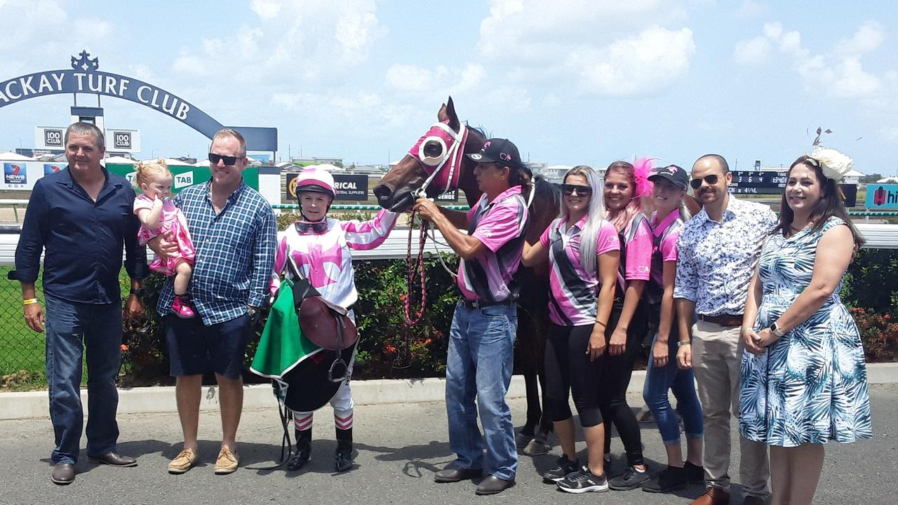 Jockey and horse trainer Trinity Bannon (third from the left) came first at the Yellow Pages Online Benchmark 60 Handicap.