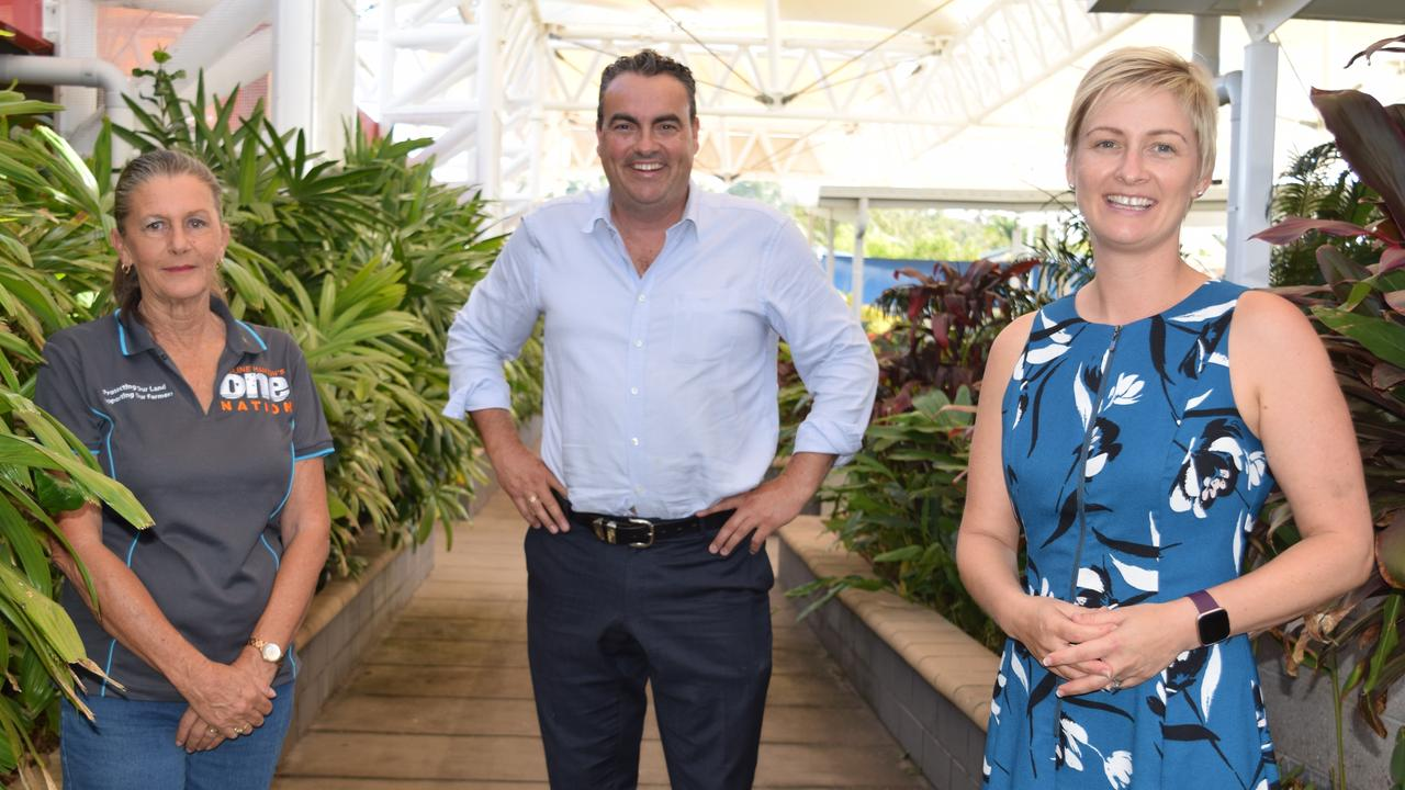 One Nation Whitsunday candidate Deb Lawson, incumbent Whitsunday MP and NQ First Leader Jason Costigan and LNP candidate for Whitsunday Amanda Camm at the ballot draw for the 2020 Queensland State Election. Picture: Elyse Wurm