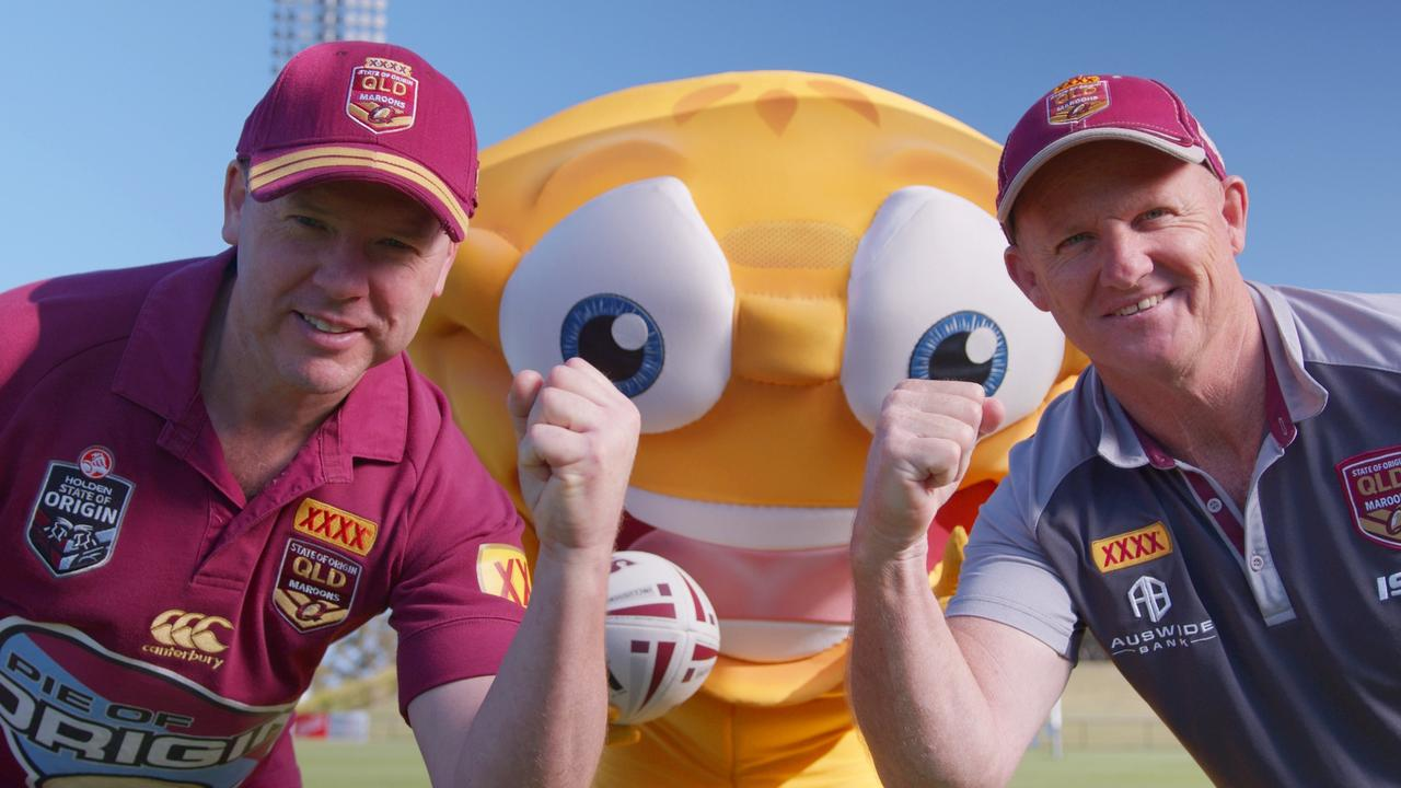 Beefy's founder Mark Hobbs and Origin great Kerrod Walters prepare for the annual Pie of Origin contest. Photo: Supplied