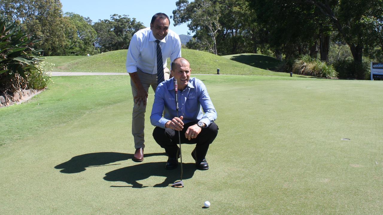 Coffs Harbour MP Gurmesh Singh and Coffs Harbour Golf Club GM Paul McAra. Photo: Craig McTear