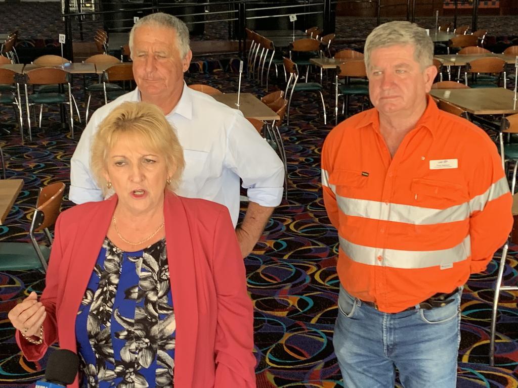 Capricornia MP Michelle Landry, LNP candidates for Rockhampton Tony Hopkins and Keppel Adrian de Groot.