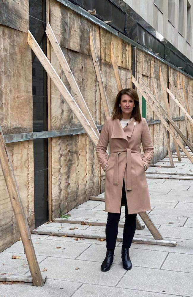 Sunrise news anchor Natalie Barr on the streets of Washington, D.C, where shops are being boarded up ahead of US election unrest. Picture: Supplied/Seven.