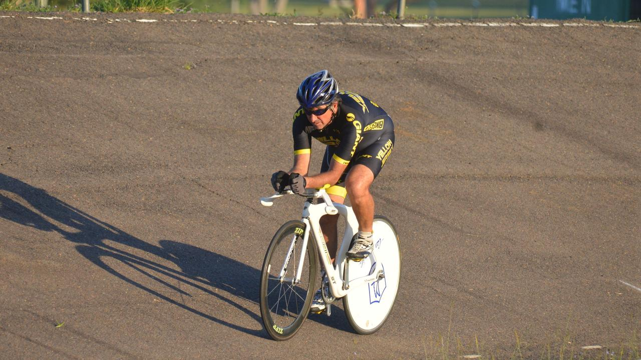 Warwick cyclist Tony Simonelli, pictured practising at the Warwick Velodrome. Picture: Gerard Walsh