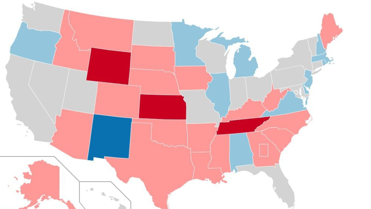 Map of US states where senators are up for re-election in 2020. Grey states have no election; blue states are elections where the seat being contested is currently Democrat; red states are currently Republican. Both Arizona and Georgia's seats are being contested in 2020, on other states one of the two seats are in play. Picture: Wikimedia Commons