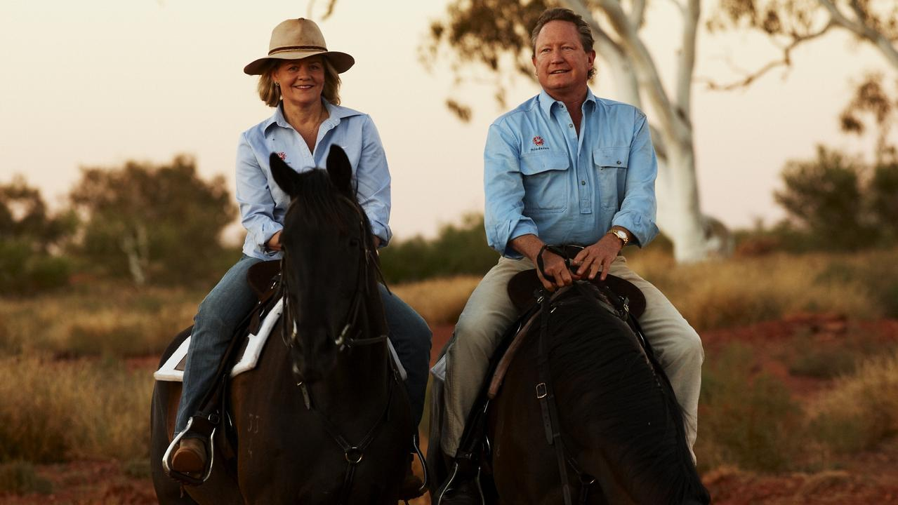 Twiggy Forrest and his wife Nicola riding horses deck out in RM's gear. Supplied 18.10.20