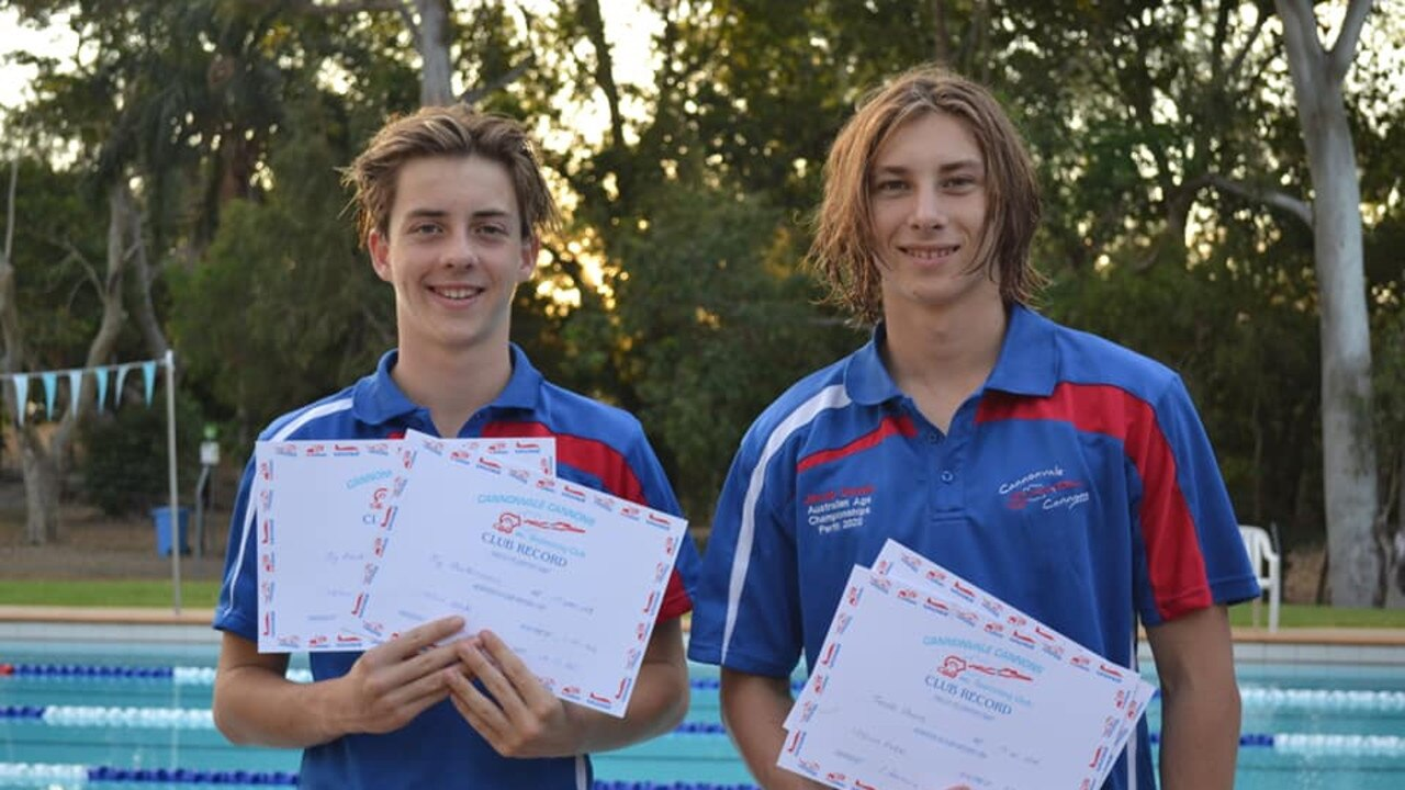 Cannonvale Cannons Jy Parkinson and Jacob Dewis with club record certificates.