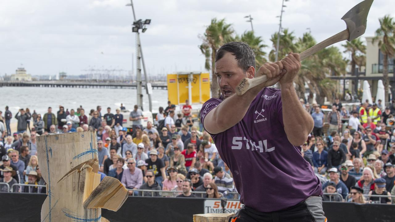 Brodie Dingle competing at the Stihl Timbersports Australian Trophy at St Kilda foreshore, in March. Picture: Alan Barber/Stihl Timbersports