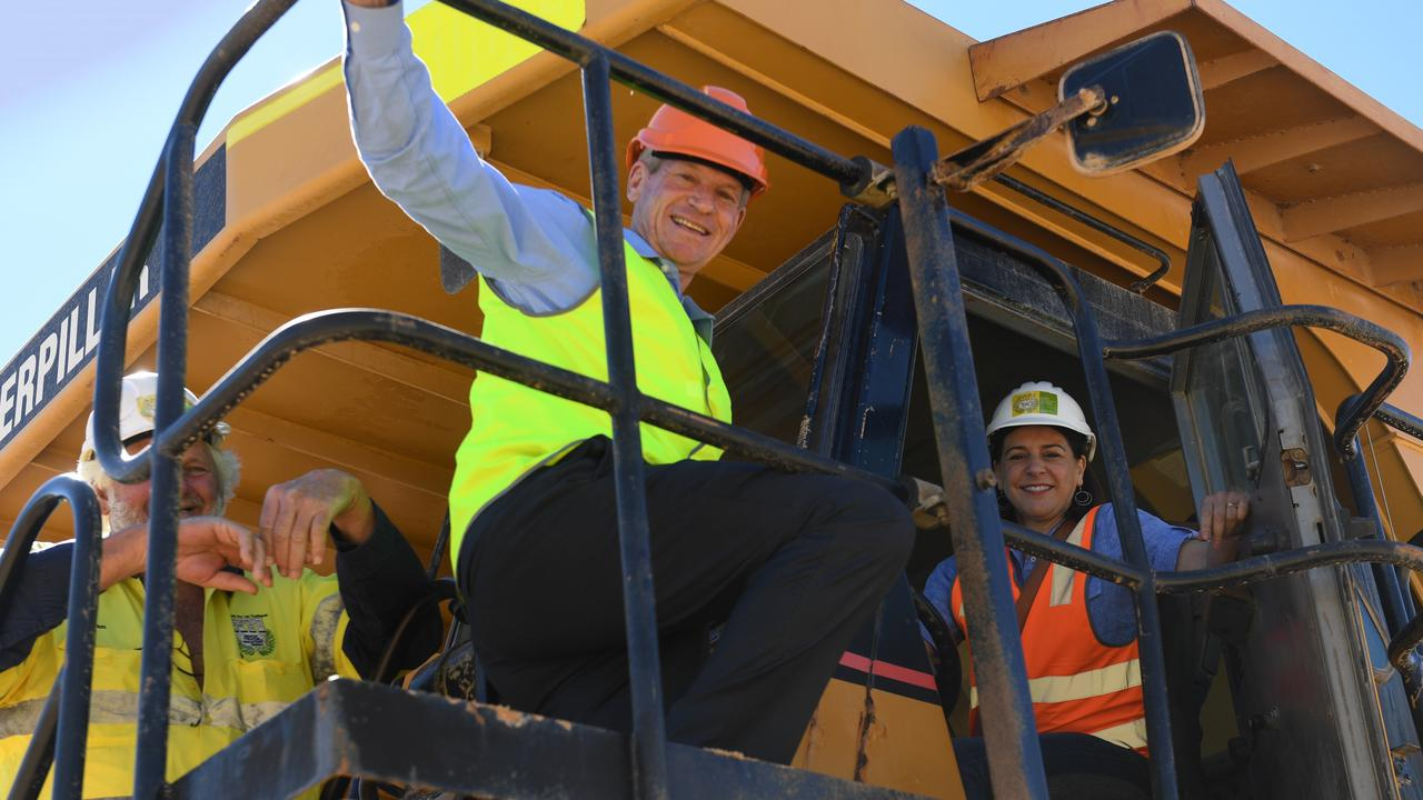 LNP Opposition leader Deb Frecklington with Member for Lockyer Jim McDonald and executive director Allan Payne at Rock Trade Industries Helidon. PHOTO: ALI KUCHEL
