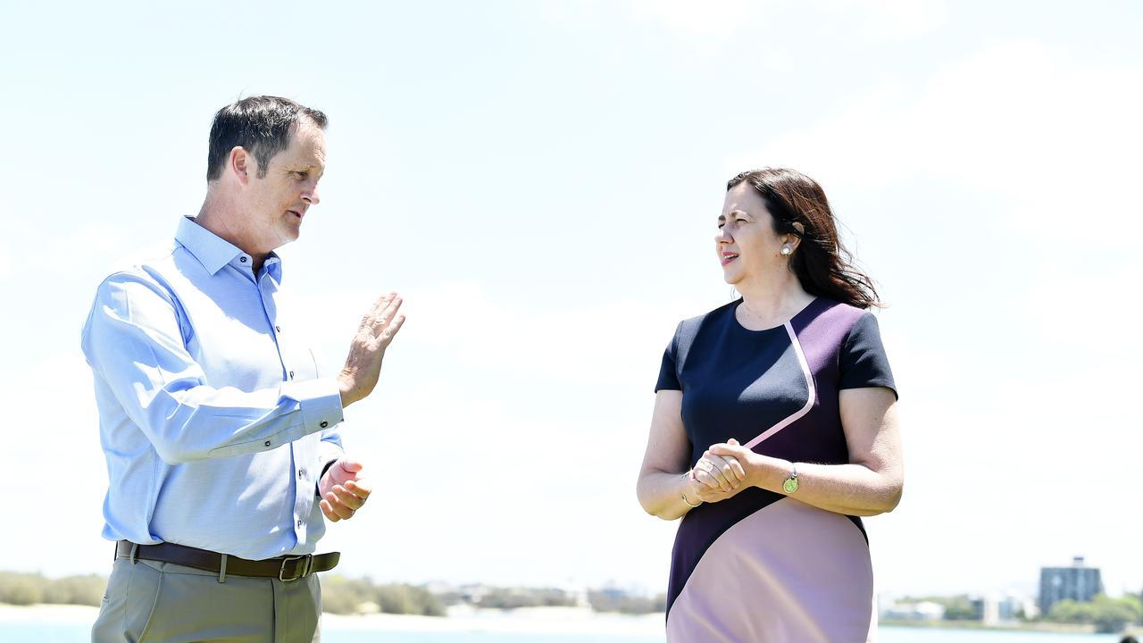 Premier Annastacia Palaszczuk holds a press conference with Jason Hunt. Picture: Patrick Woods / Sunshine Coast Daily.