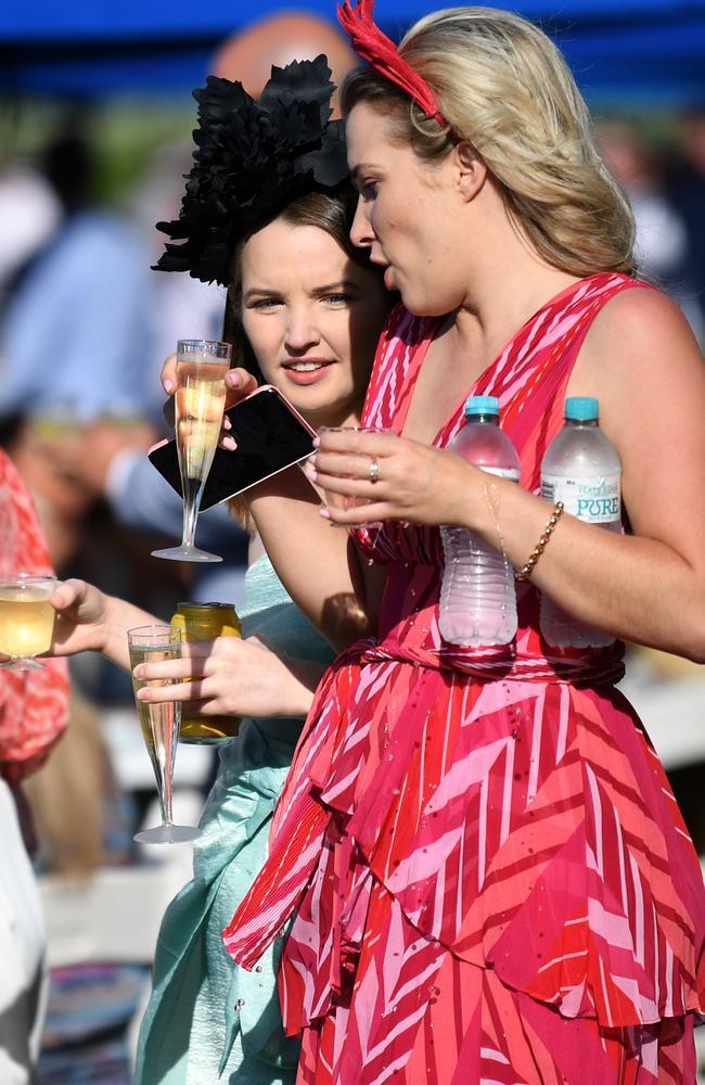 One water, one wine at Doomben Racecourse in Brisbane. Picture: NCA NewsWire / Dan Peled