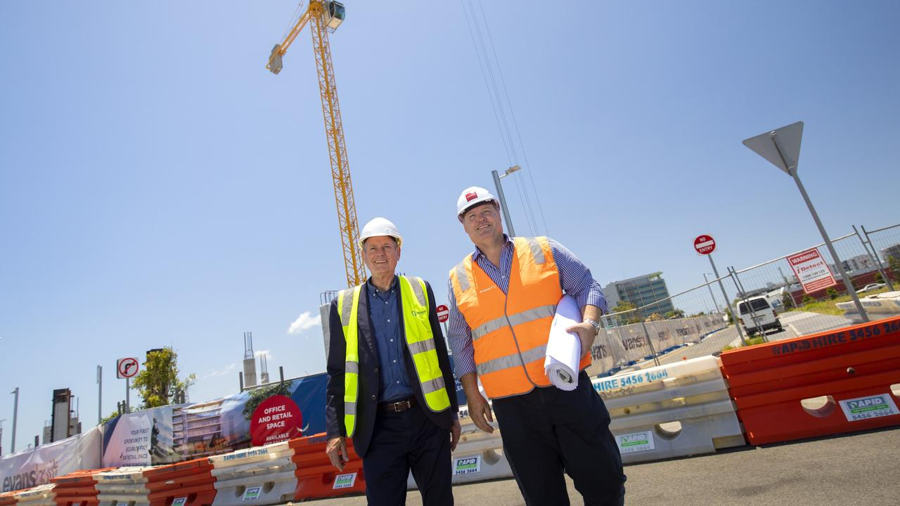SunCentral CEO John Knaggs and Evans Long director Matthew Evans on site at Foundation Place, Maroochydore.