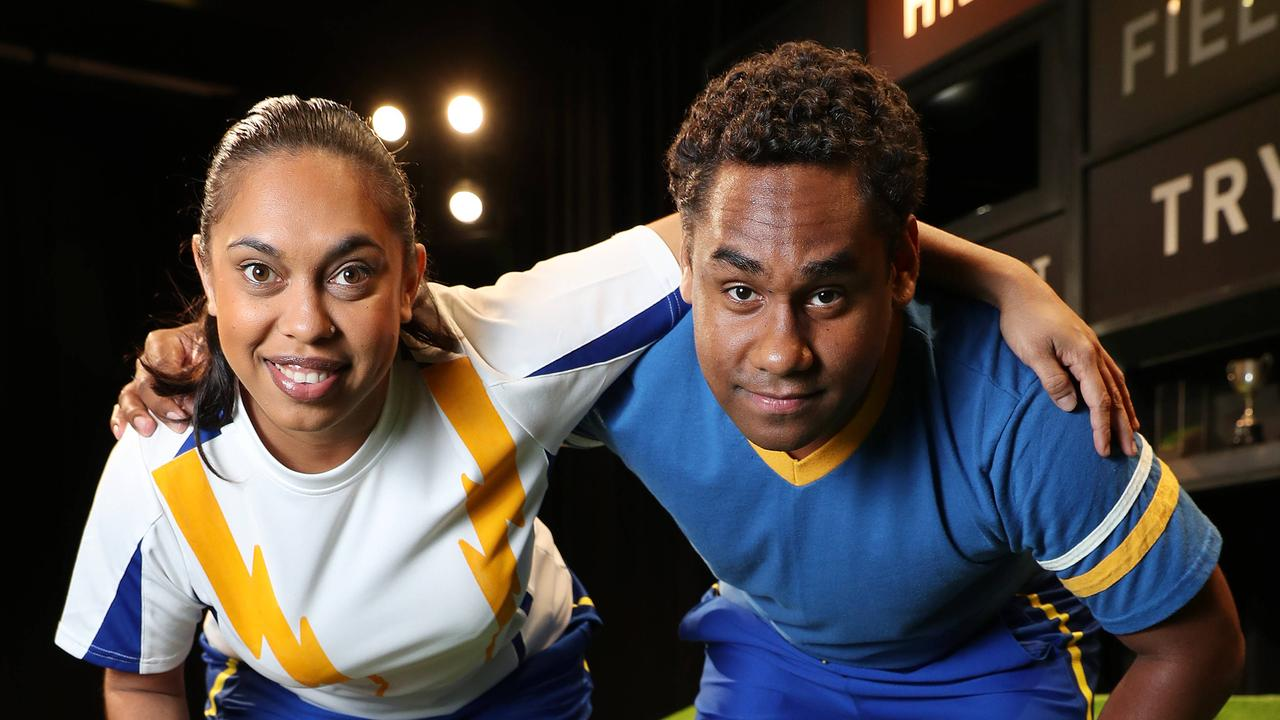 In 2018 Chenoa Deemal and Jeremy Ambrum starred in The Longest Minute, a Queensland Theatre play about the North Queensland Cowboys. Photographer: Liam Kidston.