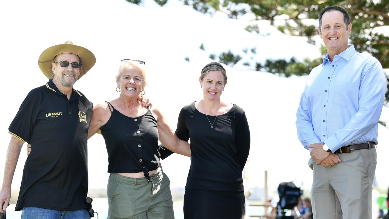 Caloundra MP Jason Hunt catches up with friends and long-time Labor supporters Tony and Edie Robinson and Bree-Anne Whittle. Tony met Ms Palaszczuk while she was in Caloundra on Wednesday. Picture: Patrick Woods / Sunshine Coast Daily.