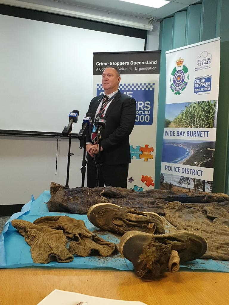 Detective Inspector Gary Pettiford at the press conference about the human remains found off Keefton Road near Gympie.