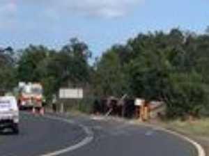 UPDATED: Truckie dies in Burnett Heads rollover