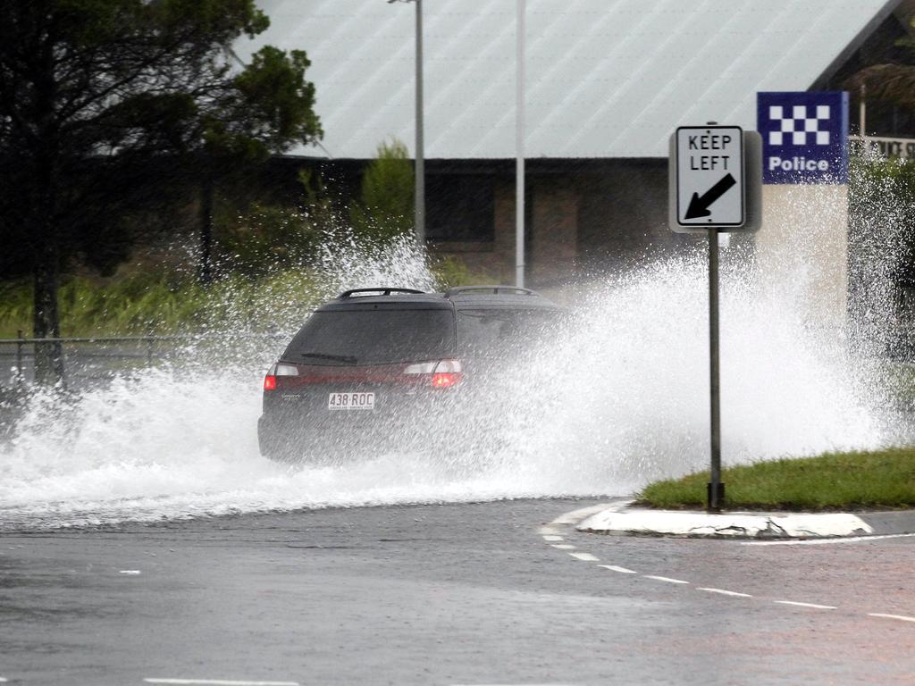 Flash flooding Nicklin Way at Warana during January 2012 which was the Sunshine Coast's last big La Nina weather event. Photo: File