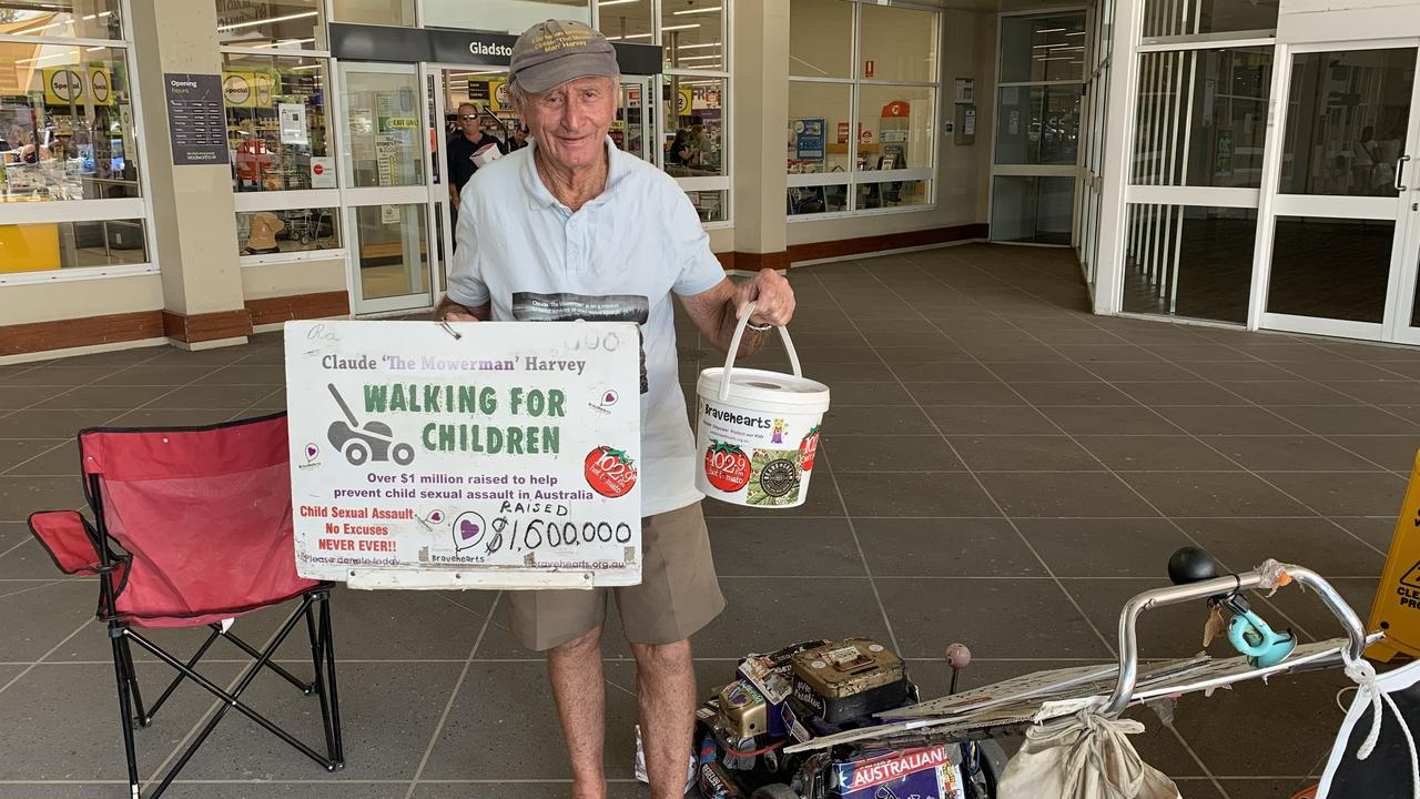 CLAUDE 'The Mowerman' Harvey touched down in Gladstone yesterday on his long quest to help child victims of sexual assault.