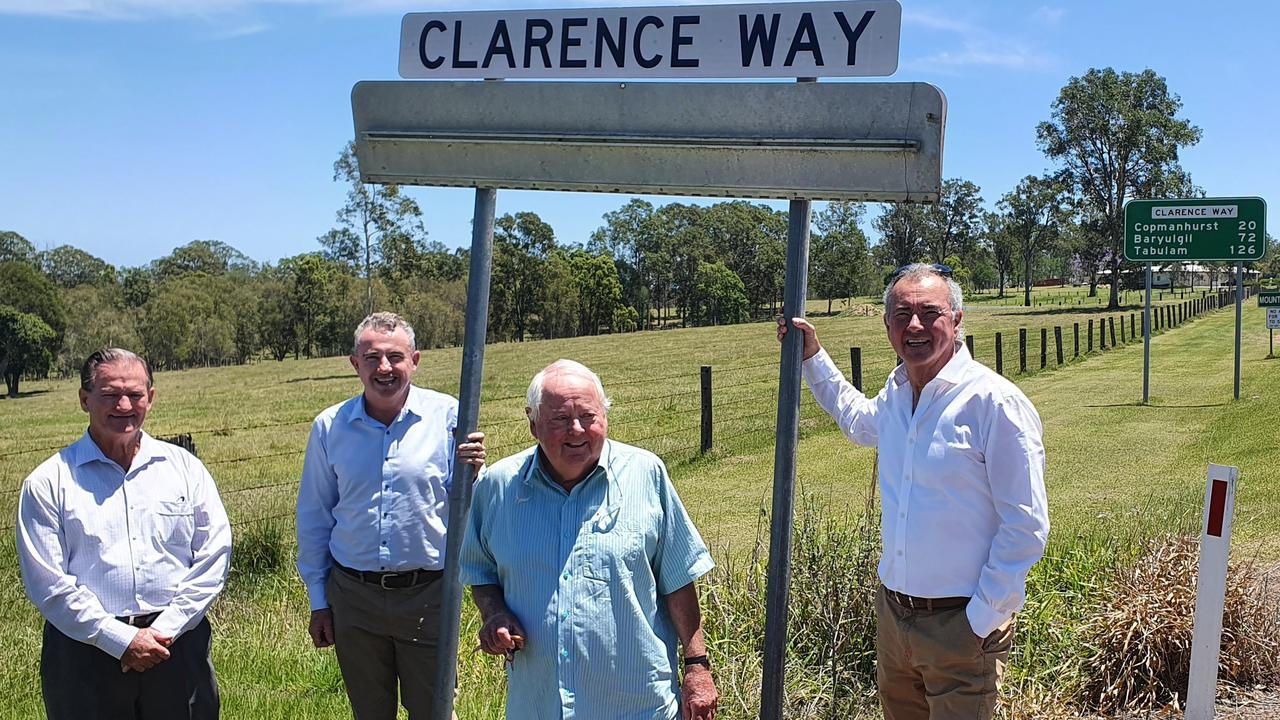Long time campaigner for the upgrade of Clarence Way Rod Watters was delighted with the $5 million injection of funds by all three tiers of Government to upgrade Clarence Way and joined with State MP Chris Gulaptis, Page MP Kevin Hogan and Clarence Valley Mayor Jim Simmons at the announcement.