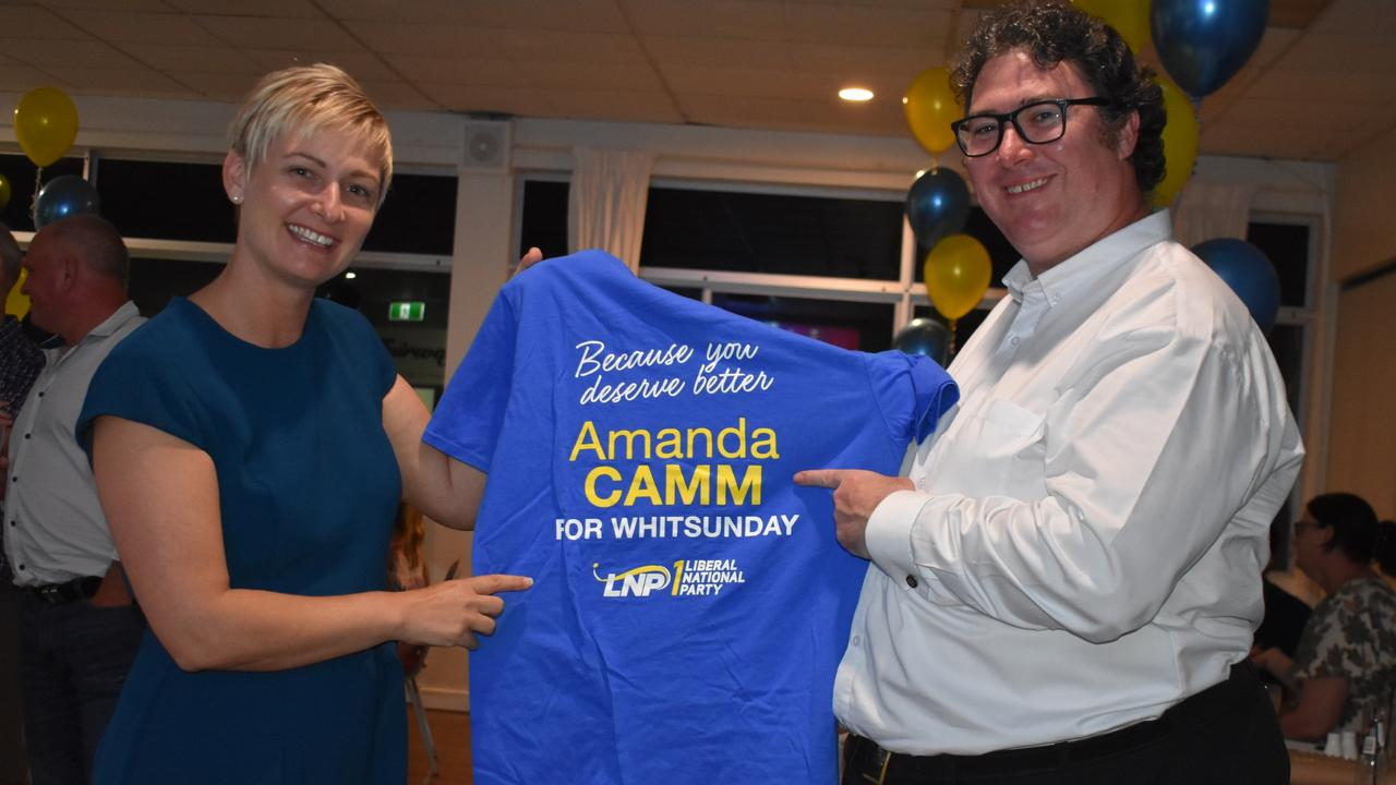 Whitsunday LNP candidate Amanda Camm with Dawson MP George Christensen. Picture: Melanie Whiting