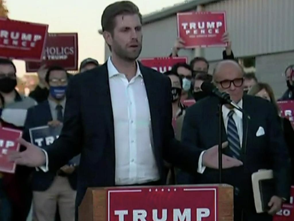 Eric Trump in Philadelphia claiming the voting has been fraudulent. Picture: Sky News