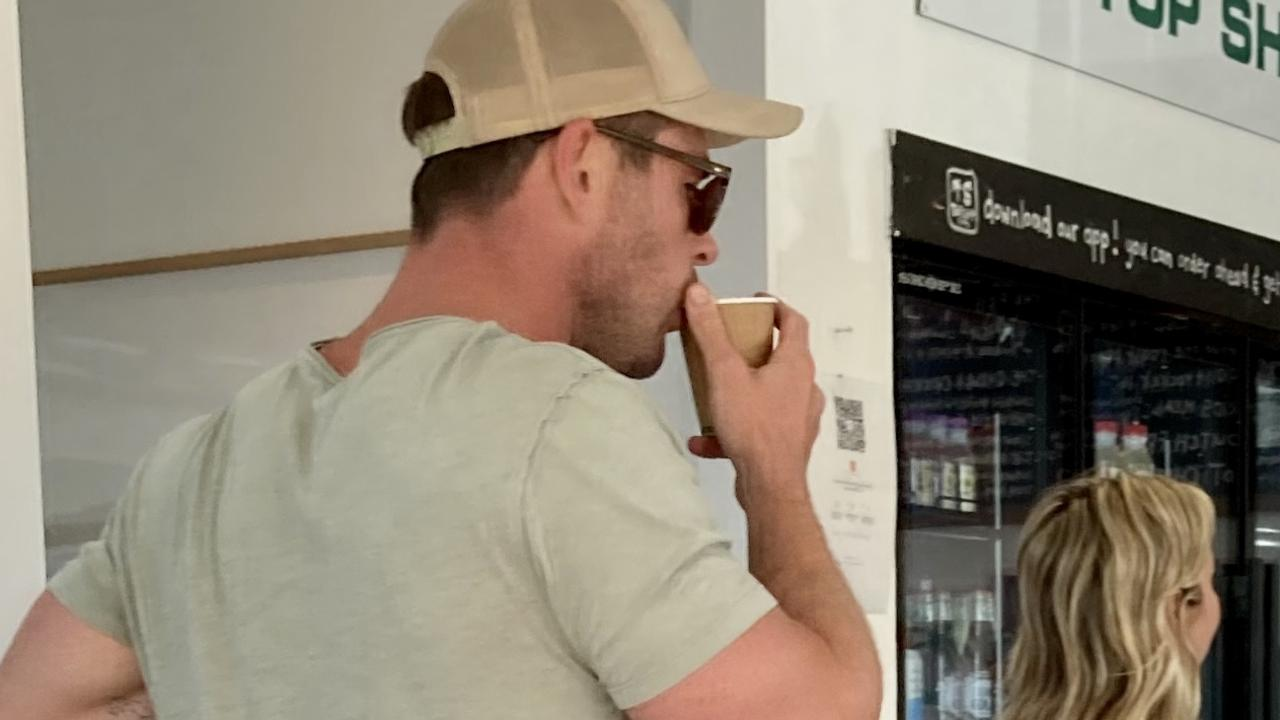 Bowling barefoot into a popular Byron Bay cafe with his twins in tow, it's humbling to watch Chris Hemsworth resist using his star power to jump the queue.