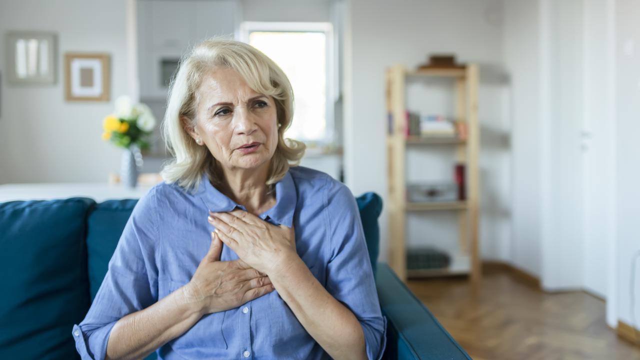Upset stressed older woman feeling heartache