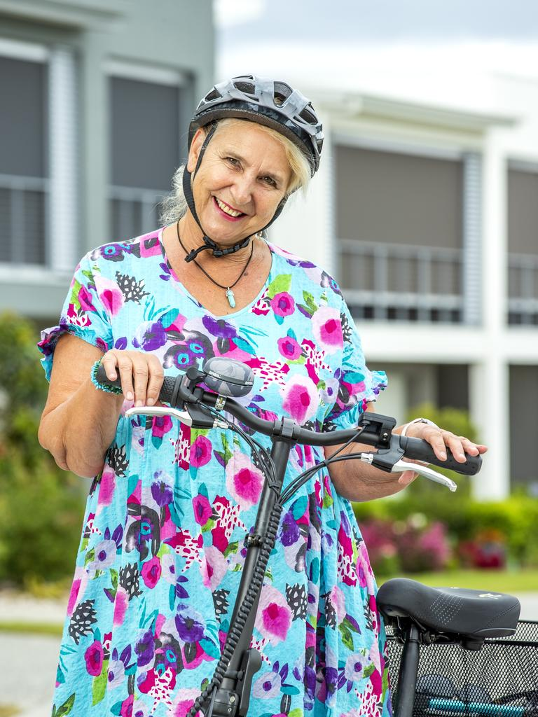 Sandy Chadwick loves riding her e-bike around the Halcyon grounds. Picture: Richard Walker/RDW Photography