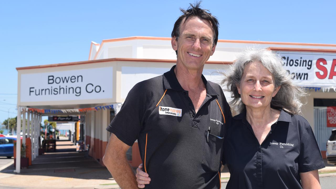 Bowen Furnishing Co owners David and Bronwyn Rynn thank their loyal customers as they prepare to close the doors of the business, which has been part of the Bowen community for 70 years. Photo: Elyse Wurm