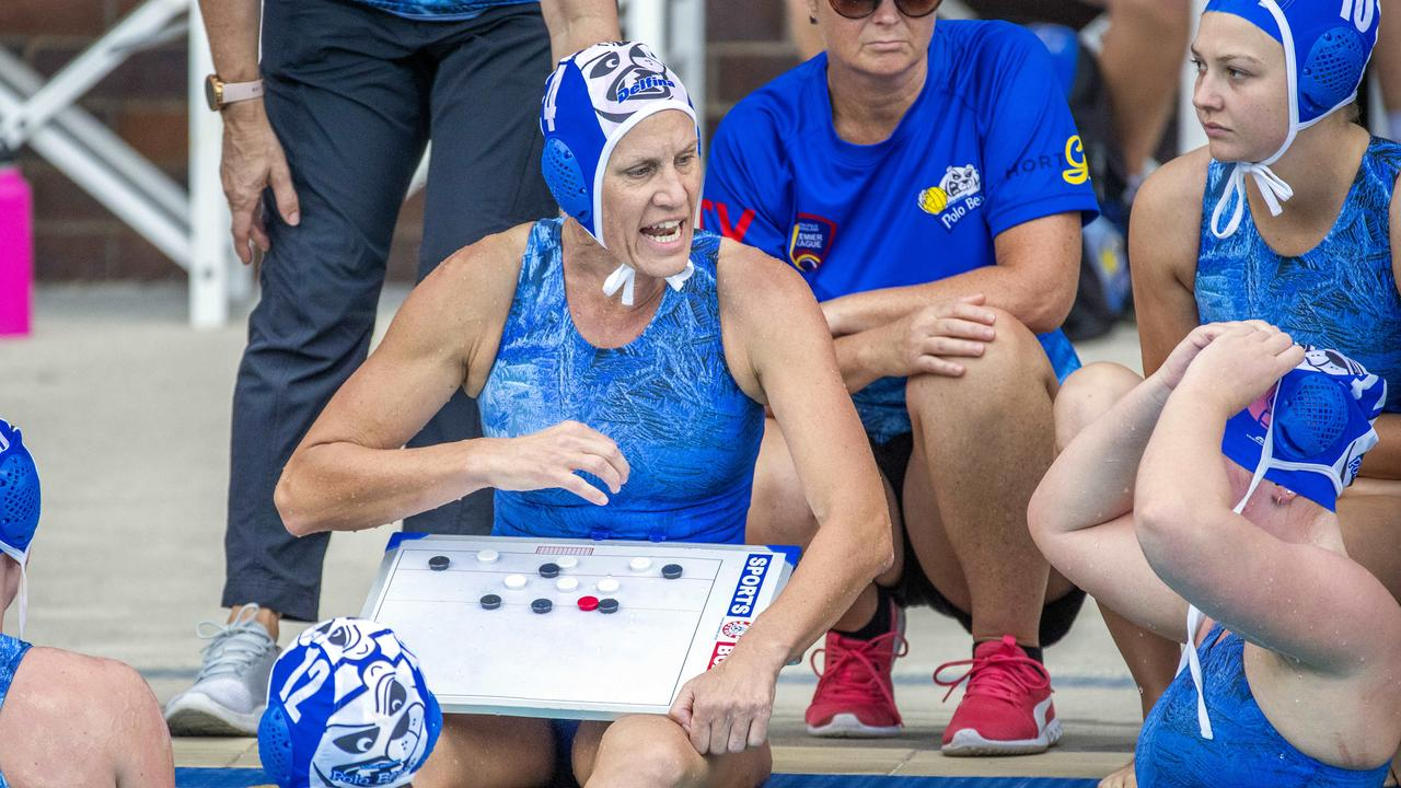 Naomi McCarthy organisers her side in the Queensland Premier League Water Polo match between Barracudas and North Brisbane Polo Bears at Fortitude Valley Pool. - Picture: Richard Walker