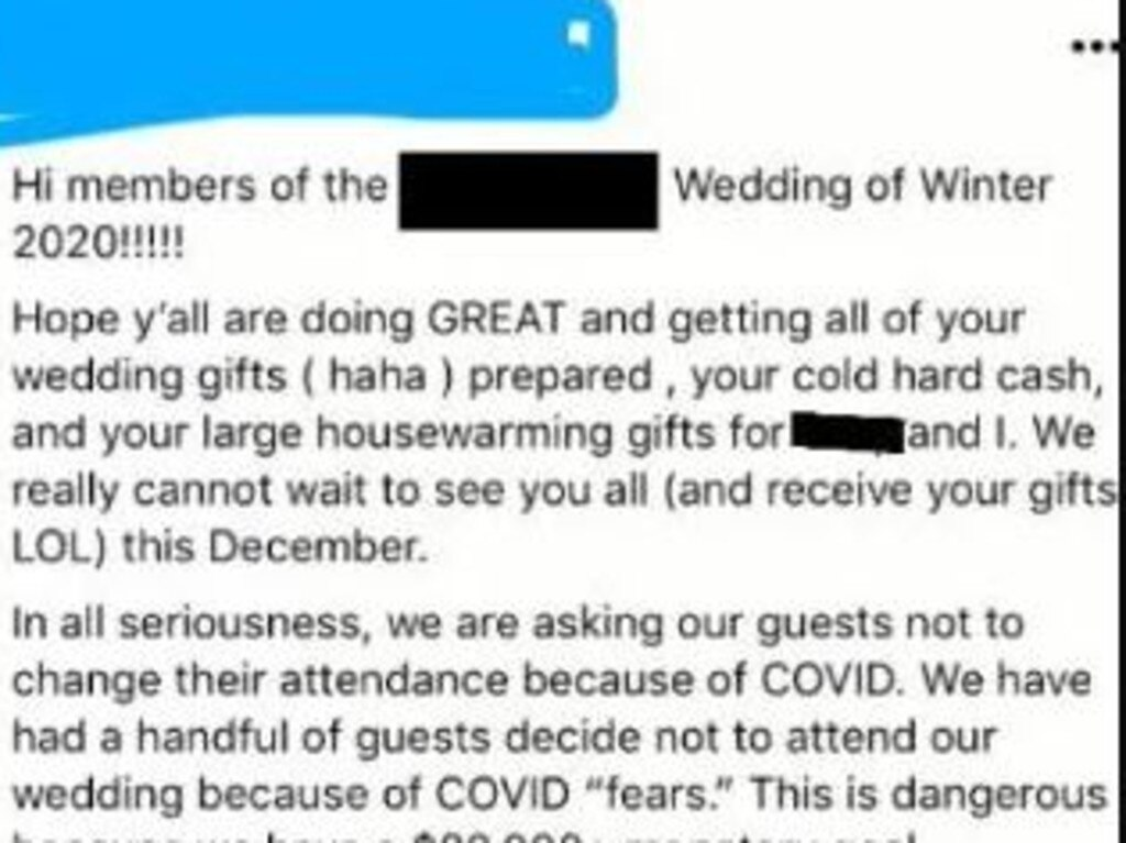 The wedding post went viral after it was posted on Reddit. Picture: Reddit