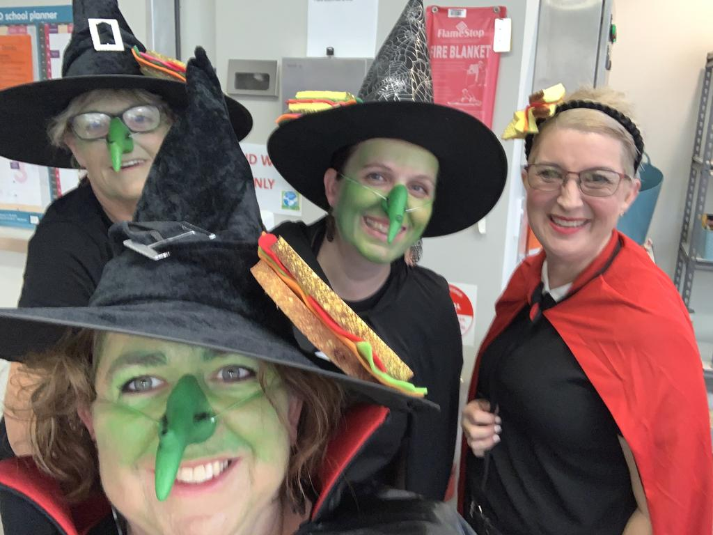 The Mackay Northern Beaches State High School canteen team dressed up for Book Week (from left): Ange Hollows, Skye Barron, Joely Whiting and Katrina Mathews. Picture: Contributed.
