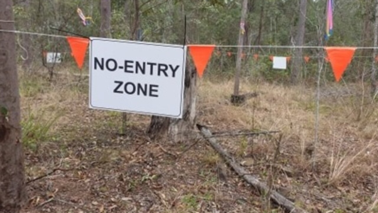 A no entry zone off Keefton Road near where the remains of what is now believed to be a woman have been found. Photo: Frances Klein