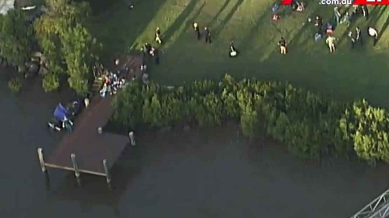 Emergency services as the scene of a boating accident at Chelmer. Picture: Channel 7