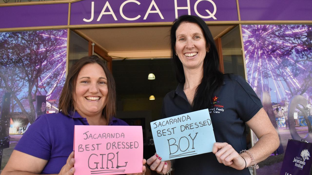 Lyndall and Bonnie from Midcoast Family Day Care presented the 2020 Jacaranda Best Dressed Competition for children under 12. Photo: Bill North / The Daily Examiner
