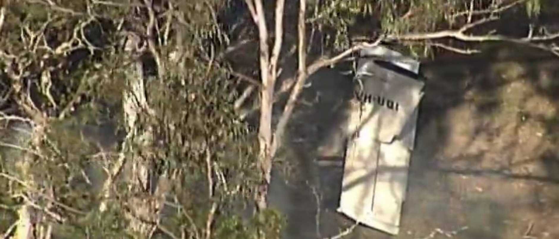 A light plane has crashed and caught fire in a paddock.