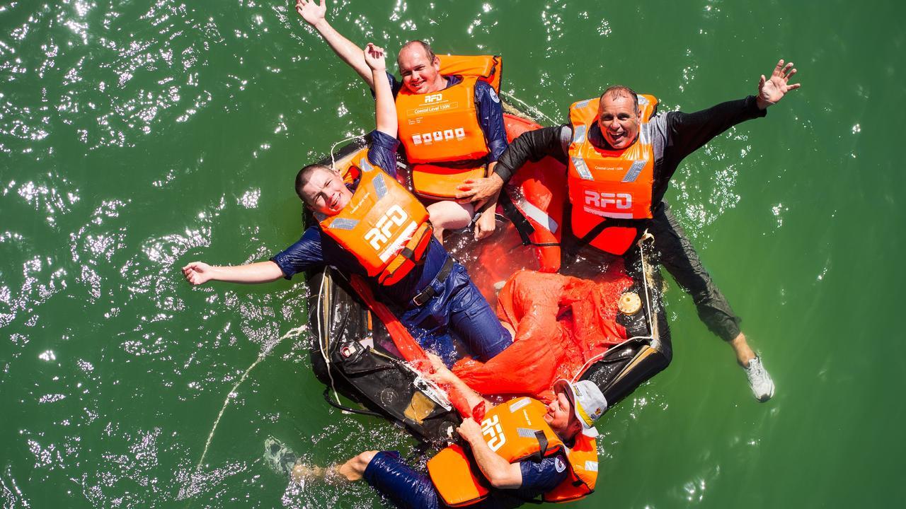 Woolgoolga marine rescue members train with liferaft recovery at coffs Harbour Jetty Pic Lto R:Mitch Harvey Greg McIntosh (Woopi) Simon Filet Rudi Hombergen (Coffs)Photo: Trevor Veale / The Coffs Coast Advocate