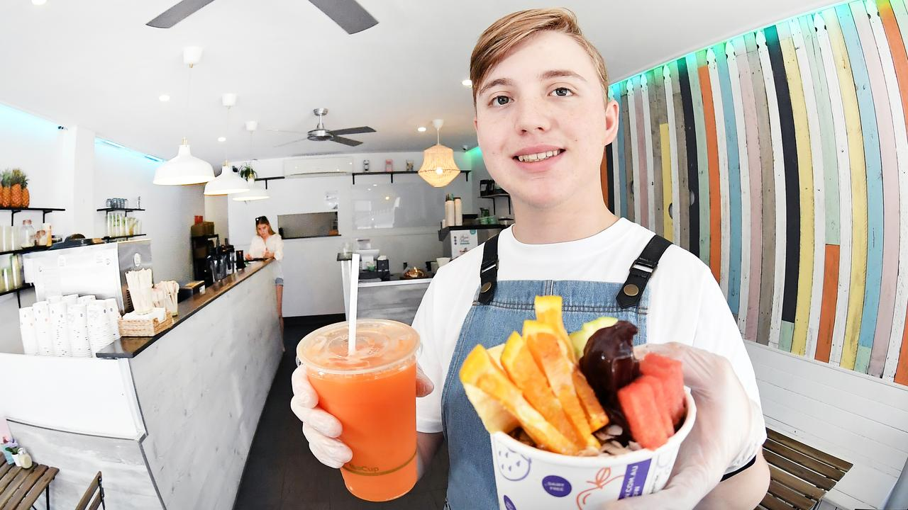 Unity College student Tyla Brydon has opened KYND Juice Bar in Bulcock St, Caloundra. Picture: Patrick Woods
