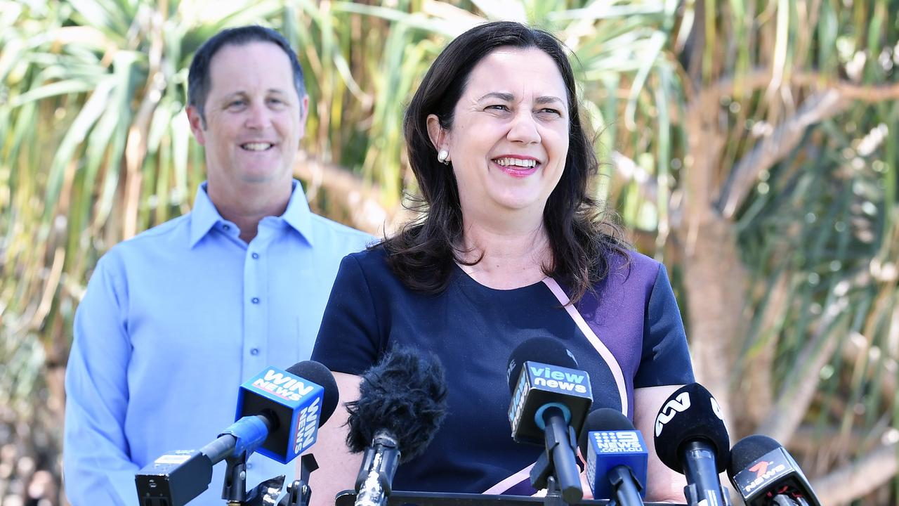 Premier Annastacia Palaszczuk holds a doorstop with Jason Hunt on the Sunshine Coast. Picture: Patrick Woods
