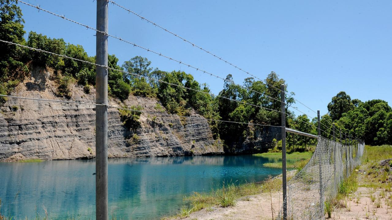 Bexhill Quarry in 2010 showing the break in the fence, used to gain entry to the water. Photo The Northern Star Archives