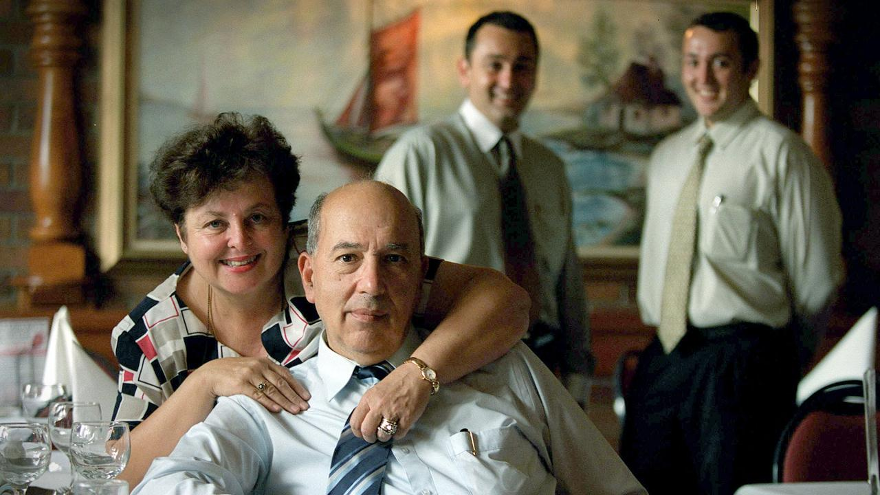 Michael Gambaro with wife Joyce and sons John and Donny Gambaro in 2003. Picture: Jamie Hanson