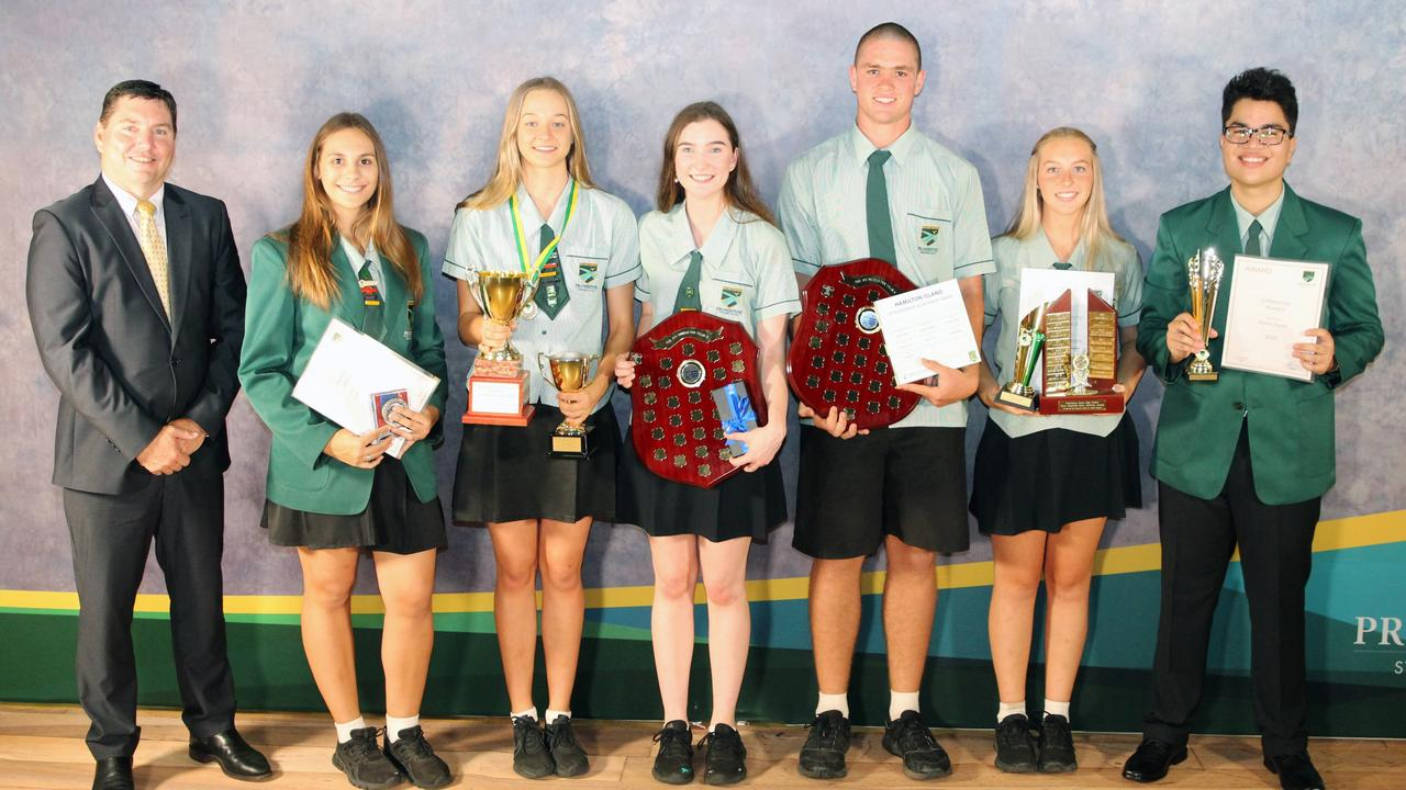 Proserpine State High School principal Don McDermid with award winners Imogen Tulk, Kasey Hogan, Tui Taylor, Jack Dwyer, Emma Faletti and Aiden Payet. Picture: Supplied